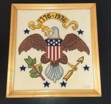 Vtg 70s Framed Needlepoint Bicentennial Patriotic Americana Bald Eagle c... - $38.61