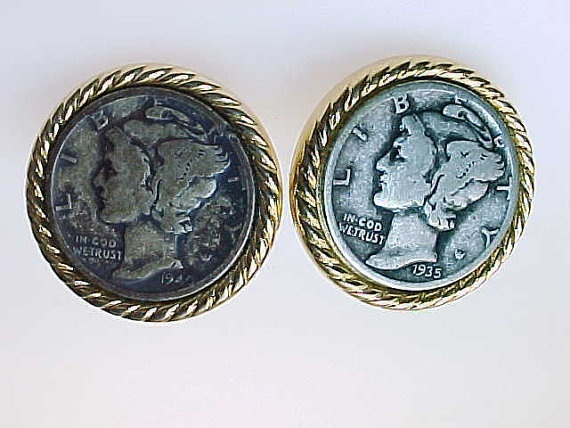 Primary image for MERCURY 1935 DIME Men's Cufflinks - Vintage -FREE SHIPPING
