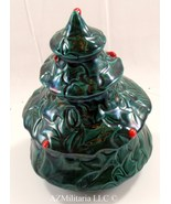 Vintage Ceramic Christmas Tree Dish With Lid Holly Red Berry Design #4019 - $48.75
