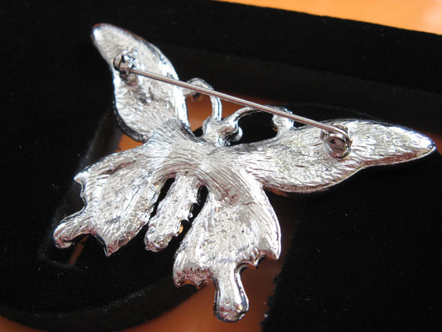 BUTTERFLY ALLOY HANDMADE CRYSTAL COMB BRIDE TIARA BROOCH BRIDAL ACCESSORIES H07