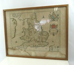 Anglia Regnum Map Willem Blaeu Antique Wales England Color Illustrated V... - $290.07