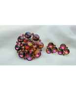 Weiss Rivoli Volcano Pin Brooch & Earrings Pin Red Orange Purple - $79.99