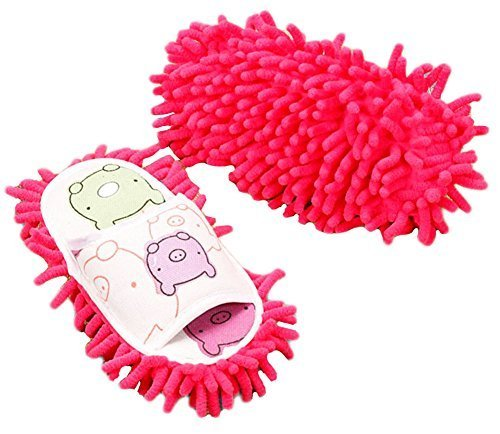 Cute Cleaning Slippers Fuzzy Slippers for Children Feet Length 20 CM -Rose