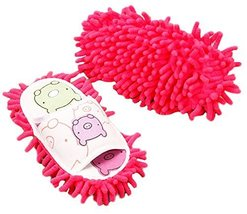 Cute Cleaning Slippers Fuzzy Slippers for Children Feet Length 20 CM -Rose - $19.27
