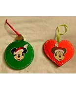 2 VINTAGE Disney MICKEY MOUSE Handmade Wooden Ornaments **EXCELLENT** - $19.99
