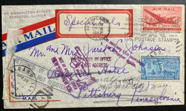 1947 Chicago IL USA Special Delivery Airmail Cover to Pittsburg PA Retur... - $71.42