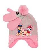 PAW PATROL SKYE Fleece-Lined Knit Trapper Winter Hat & Mittens Set w/Pom... - $14.84