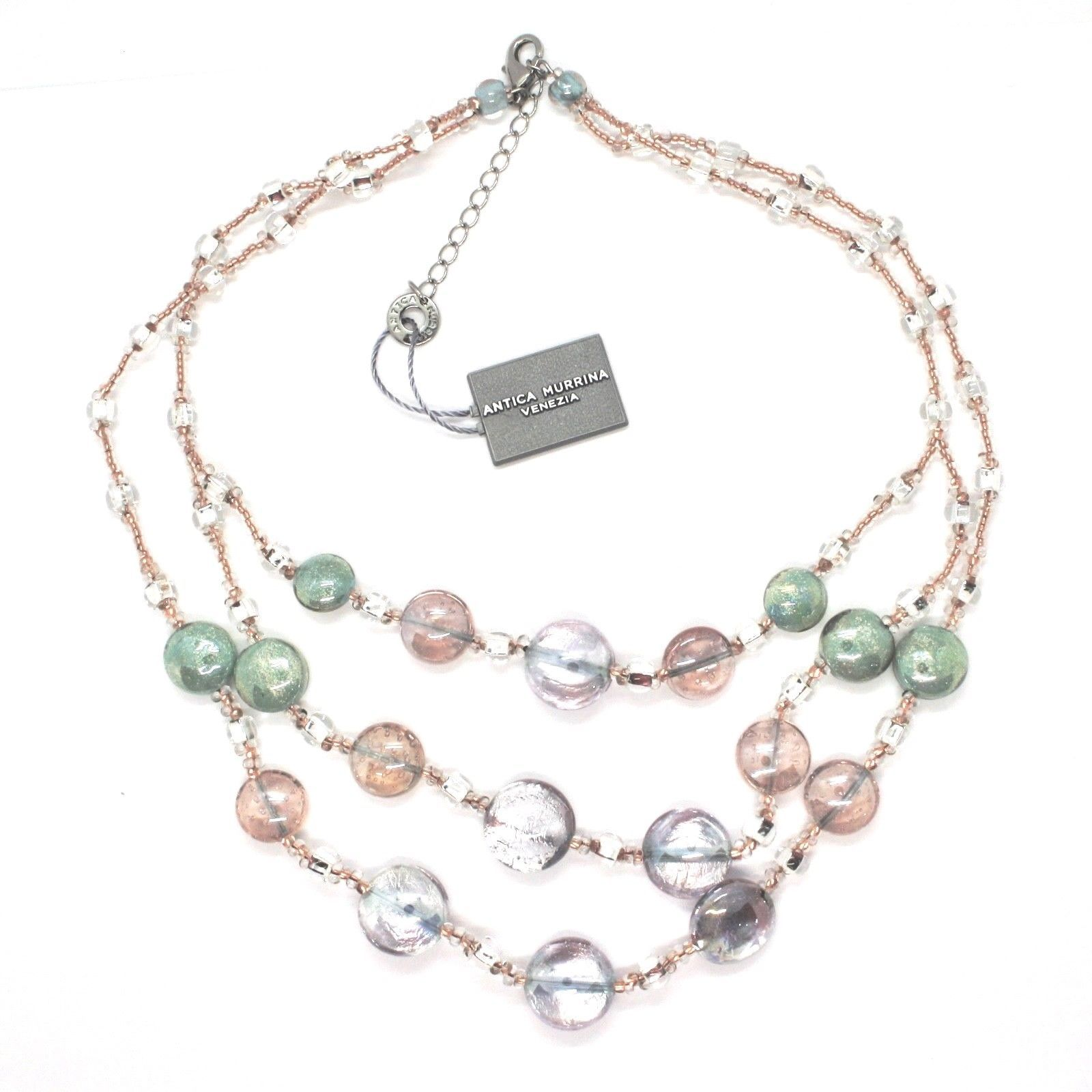 NECKLACE ANTICA MURRINA VENEZIA WITH MURANO GLASS PURPLE GREEN PINK CO904A38