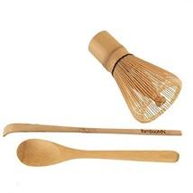 BambooMN Matcha Whisk Set - Golden Chasen Tea Whisk, Chashaku Hooked Bam... - $17.59