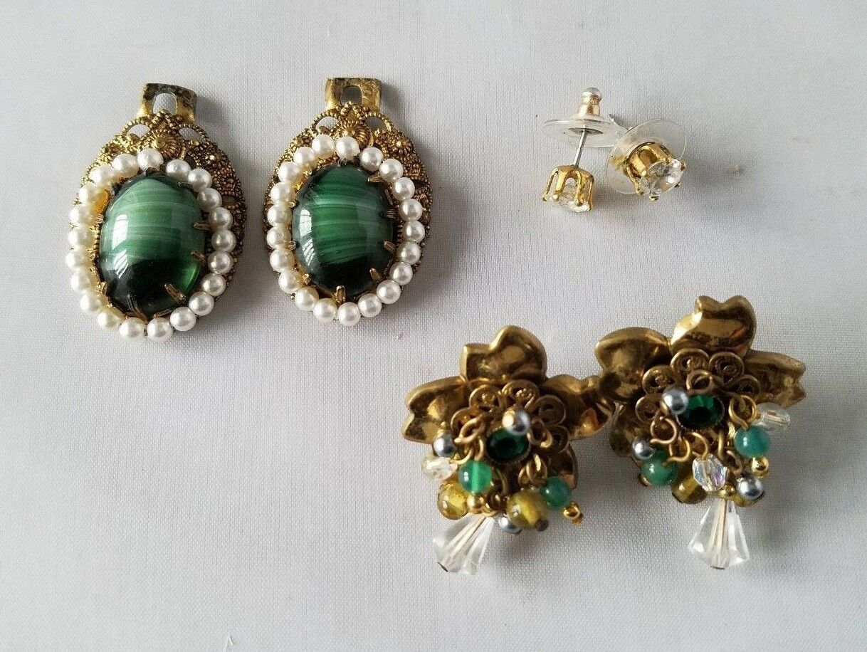 Vintage Fashion Jewelry Set Green Stone Jackets Gold Tone Earrings Pendant Charm