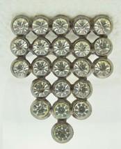 VTG Silver Tone Clear CZ Rhinestone Art Deco Style Graduated Pin Brooch - $29.70