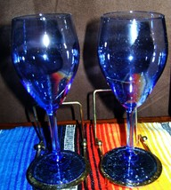 "Jeanette Glass Company Vintage 2 Blue 7"" Liqueur Wine Glasses - $17.67"