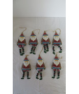 Set of 7 Christmas Metal Santa Feet Dangling Ornaments - $14.95