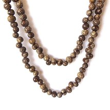 EXTRA LONG CEREBRO NATURAL PATTERN SEED BEADED NECKLACE, HIPPY RETRO BEA... - $15.13