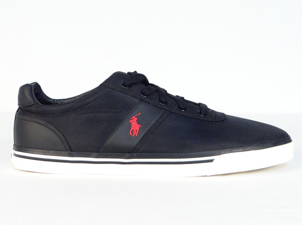 Polo Ralph Lauren Black Hanford Casual Shoes Sneakers Red Polo Pony Mens  NEW - $63.74