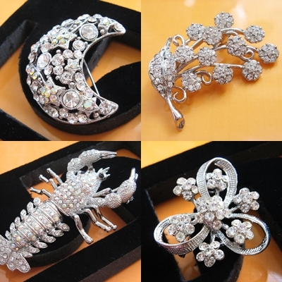 ALLOY LOBSTER HANDMADE CRYSTAL COMB BRIDE TIARA BROOCH VEIL BRIDAL ACCESSORY H0