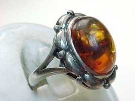 AMBER Vintage Ring in STERLING SILVER - Size 6 3/4 - FREE SHIPPING - $75.00