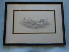 Fine Art Drawing Signed JT 76 Farm Scene - $21.05