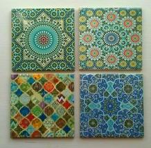Ceramic Coaster Set Turkish Moroccan  Set of 4 Great Designs Square Tea Cup - $16.74