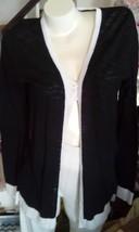 Sweater Evan Piccone Black.White Trim Medium New Lt.Weight Attractive - $17.46