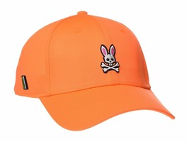 Psycho Bunny Men's Embroidered Snapback Sports Baseball Cap Hat Shocking Orange