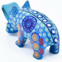 Handmade Alebrijes Oaxacan Wood Carved Painted Folk Art Hippo Hippopotamus  image 3