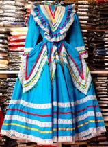 Womens Jalisco Dress With Super Wide Skirt Flow Folklorico Dance Handmad... - $102.93+
