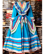 Womens Jalisco Dress With Super Wide Skirt Flow Folklorico Dance Handmad... - $102.93+