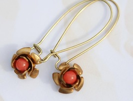 Tiny Coral Earrings Flower Setting - $20.00