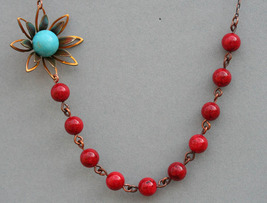 Red Beaded  Flower Necklace with Turquoise Stones - $36.00