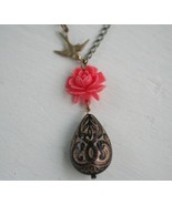 Coral Flower  and Black Pendant Necklace - $30.00