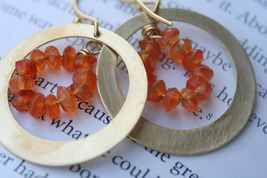 Carnelian Orange  Hoop Earrings - $36.00