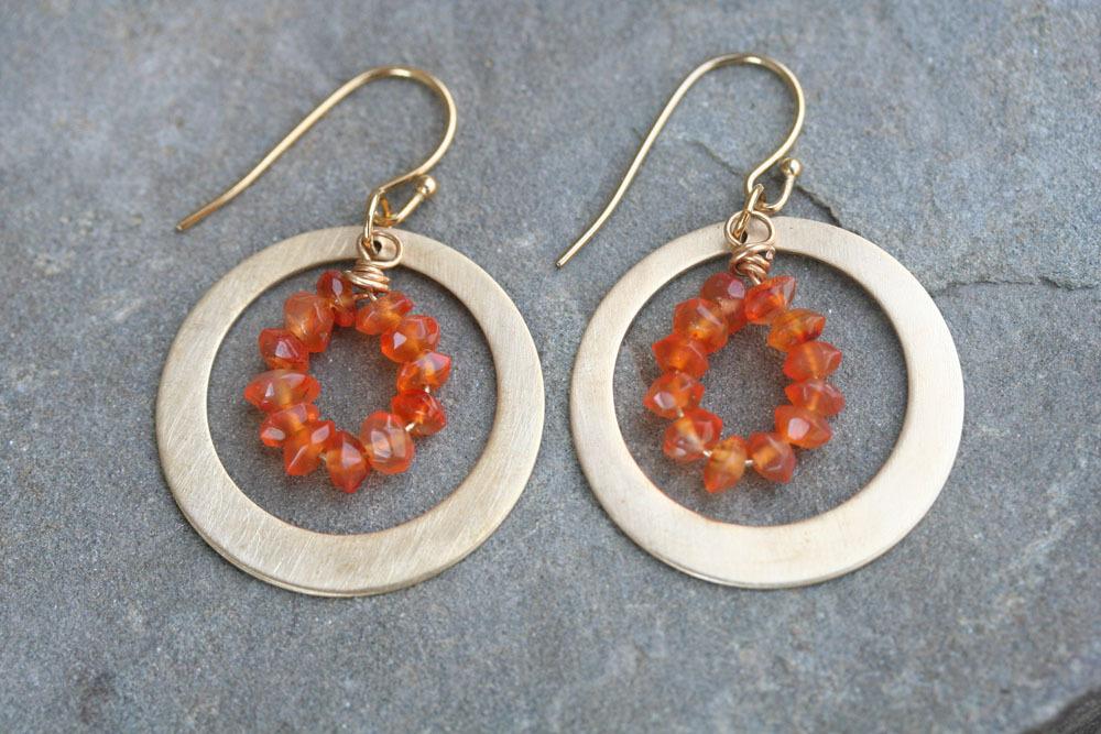 Carnelian Orange  Hoop Earrings