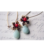 Coral  Adventurine Earrings - $26.00