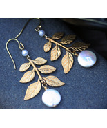 Coin Pearl and Golden Branch Leaf Earrings - $28.00