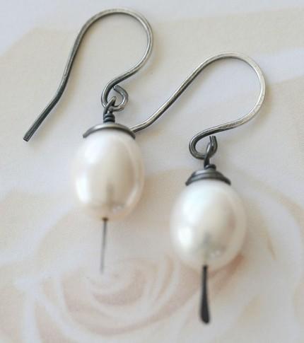 Big Pearl Earrings -  Sterling Silver - Oxidized