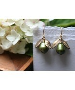 Sage Green Pearl Earring With Golden Leaves - $28.00