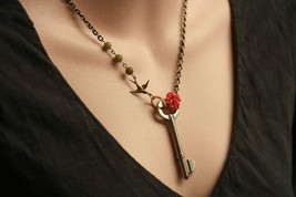 Rose Key Skeleton Necklace with Bird Charm - $36.00