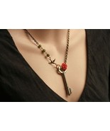 Rose Key Skeleton Necklace with Bird Charm - $36.00