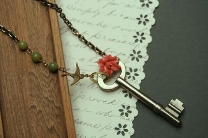 Rose Key Skeleton Necklace with Bird Charm
