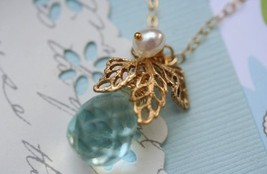 Laura Necklace Blue Quartz Briolette - $36.00