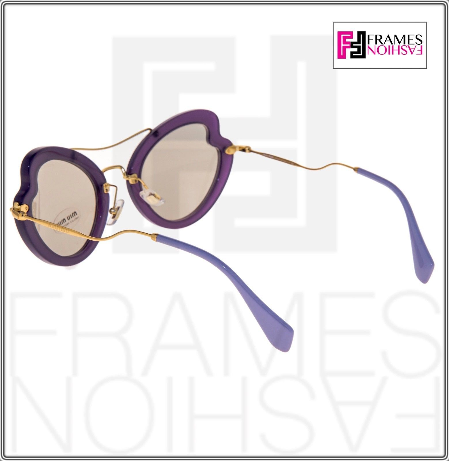 MIU MIU SCENIQUE Butterfly 11R Lilac Translucent Violet Gold Sunglasses MU11RS
