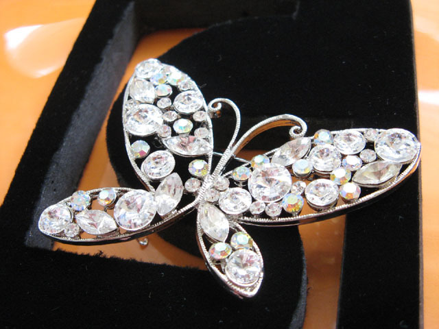 ALLOY BUTTERFLY HANDMADE CRYSTAL BRIDE COMB WEDDING BROOCH BRIDAL ACCESSORIES #1