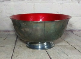 "Retired Reed & Barton Silverplated 6-5/8"" Paul Revere Bowl w/Red Enamel, #1120 - $19.79"