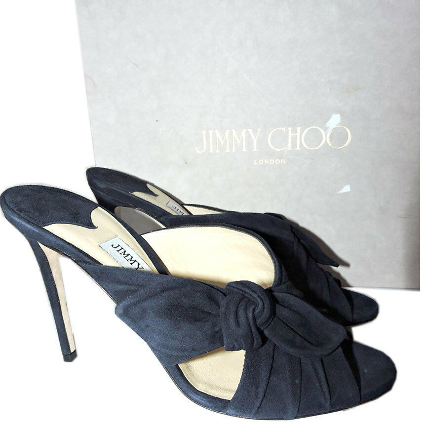 Jimmy Choo Marine Daim Keely Glissière Mules 39.5 Sandale Nœud Chaussures