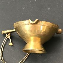 Vintage Miniature Brass Ornament Christmas Mini Ashtray With Handle Gold Patina image 8
