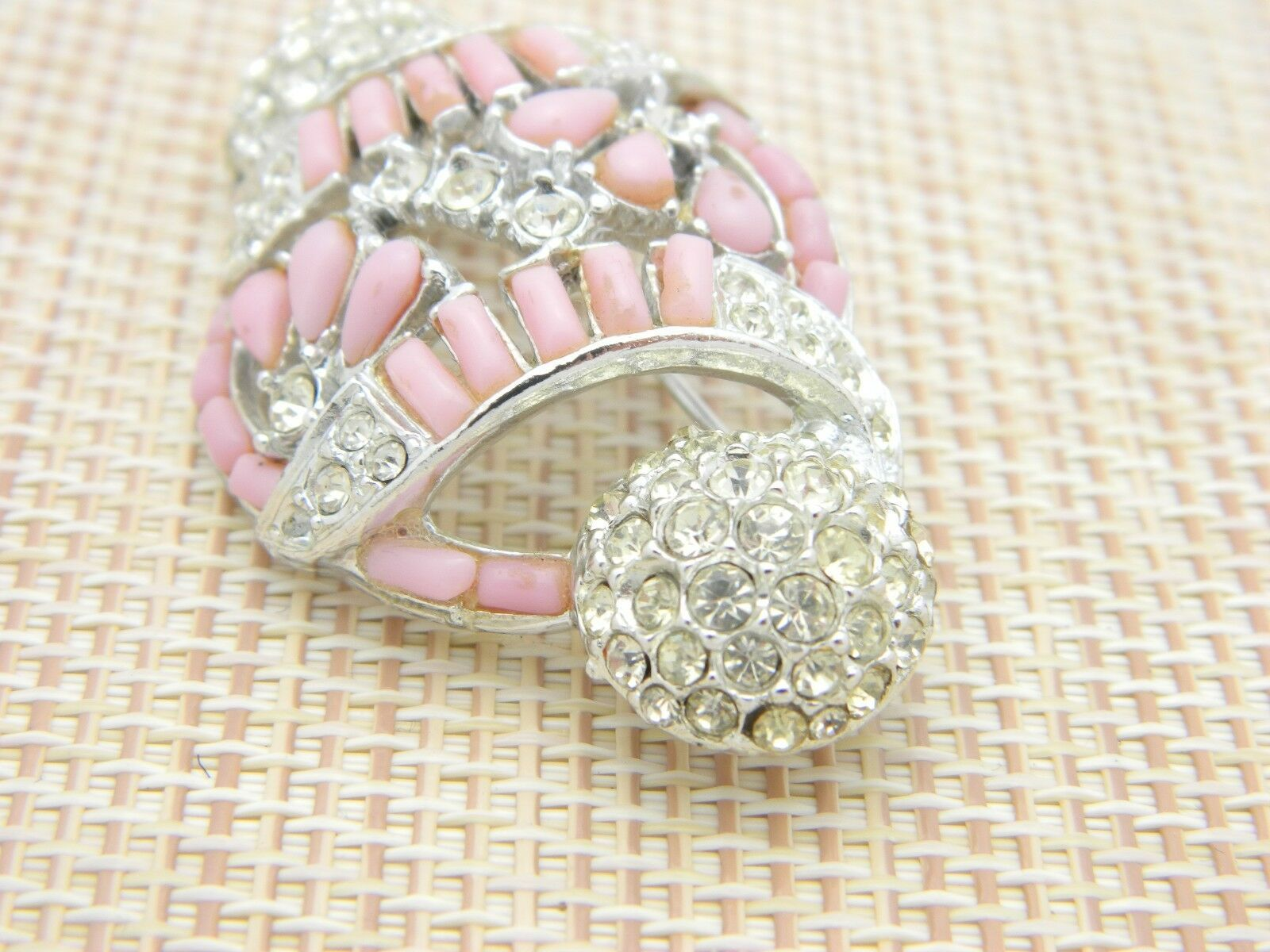 Pink Clear Rhinestone Unique Ornament Shape Openwork Vintage Pin Brooch
