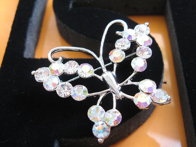 BUTTERFLY ALLOY HANDMADE CRYSTAL WEDDING TIARA  BRIDE BROOCH BRIDAL ACCESSORIES