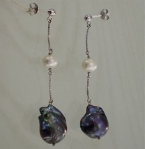 18K WHITE GOLD PEARL PENDANT EARRINGS MADE IN ITALY - $369.55