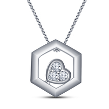14k White Gold FN. 25 Silver Round Cut Cubic Zirconia Fancy Pendant With Chain - $41.28